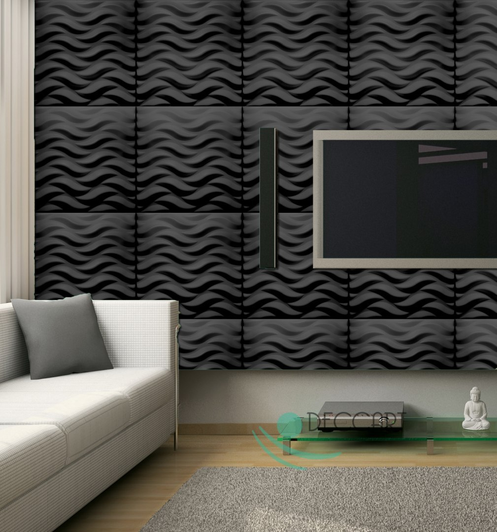 FLOW GREY - Styrofoam Ceiling Tiles 3D